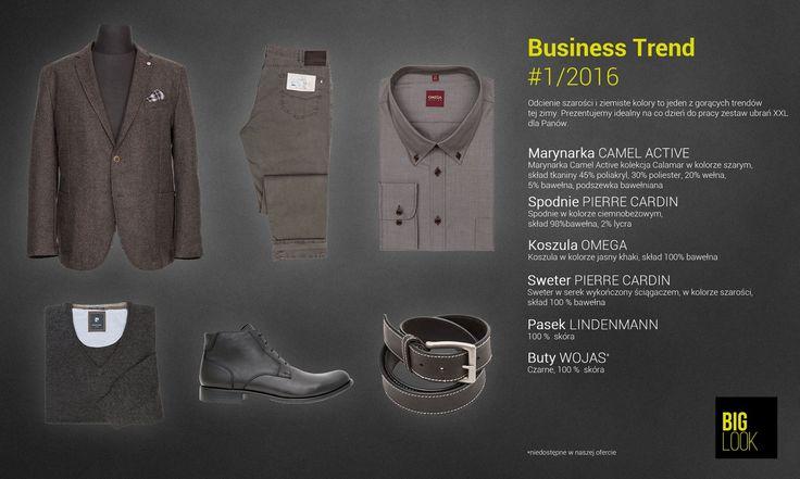 Odcienie szarości i ziemiste kolory to jeden z gorących trendów tej zimy. Prezentujemy idealny na co dzień do pracy zestaw ubrań XXL dla Panów. Po więcej zapraszamy na www.biglook.pl/produkty