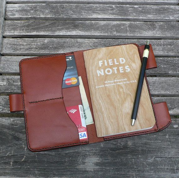 Field Notes Leather Cover - Notebook Journal Wallet - Chestnut Brown Leather - Hand Stitched - by Garny - bj