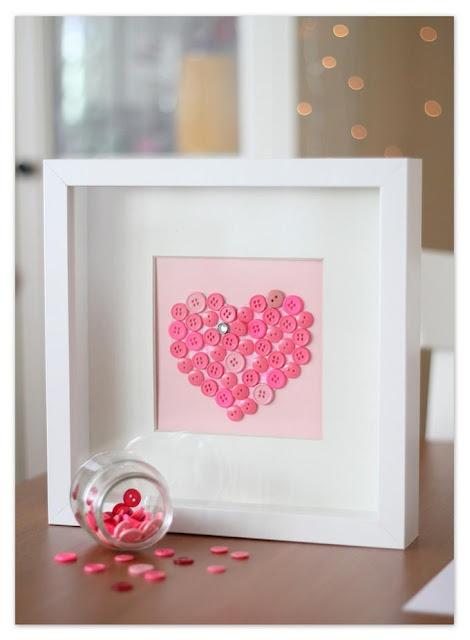 DIY Cuadro botones corazon