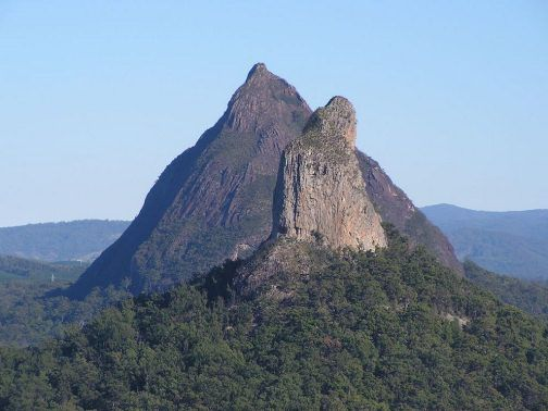 Mt Beerwah, Glass House Mountains, Queensland, Australia. I climbed one of these mountains.
