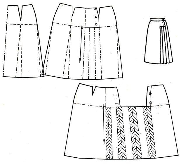 Рис. 193. Юбка с асимметричным подрезом и складками на левой стороне
