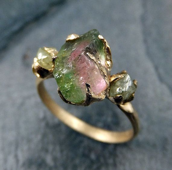 Raw Watermelon Tourmaline Diamond Gold Engagement Ring Wedding Ring Custom One Of a Kind Gemstone Ring Bespoke Three stone Ring byAngeline Raw