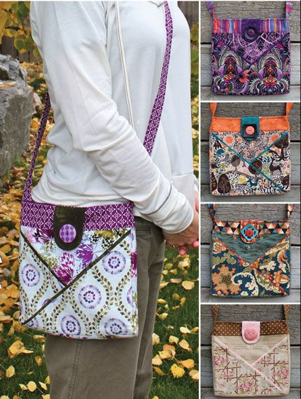 "This cute bag measures 10""w x 10""h x 1""d and it is Fat Quarter Friendly. The flap is held by a magnetic snap and accented by a decorative button."
