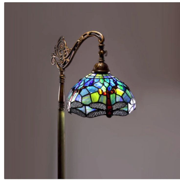 Tiffany Style Dragonfly Reading Floor Lamp Light Stained Glass Vintage Look #WarehouseofTiffany #StainedGlass