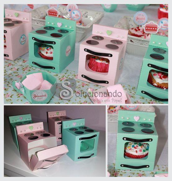 Fogão de Papel - Caixa para Cupcake