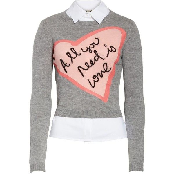 Women's Alice + Olivia Ao X The Beatles Nikia All You Need Is Love... (€375) ❤ liked on Polyvore featuring tops, sweaters, sweater pullover, wool blend sweater, alice olivia top, embroidered sweater and pullover sweater