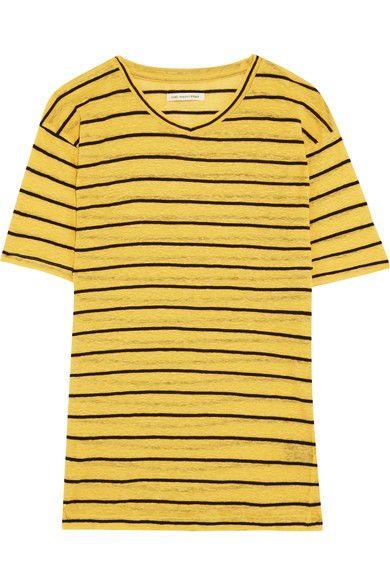 Étoile Isabel Marant - Andreia Striped Slub Linen And Cotton-blend Jersey T-shirt - Yellow - x small