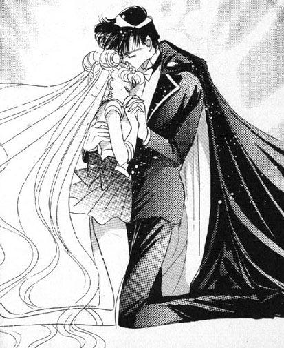 Sailor Moon X Tuxedo Mask: Sailor Moon And Tuxedo In Black And White Manga Pic