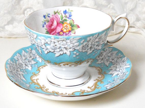 Englischen floral Tee Royal Albert Verzauberung Jahrgang Teetasse Teetassen englische Teetasse blau Jahrgang Teetasse 548