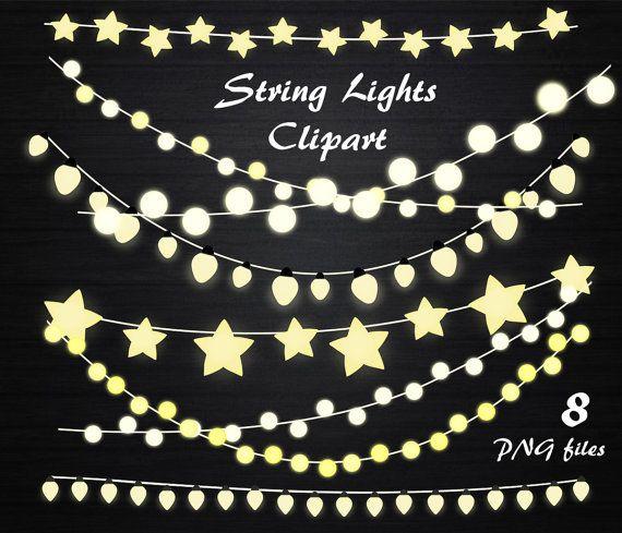 String Lights Clipart, String lights clip art, Lights clipart, wedding invitation, Fairy Lights ...