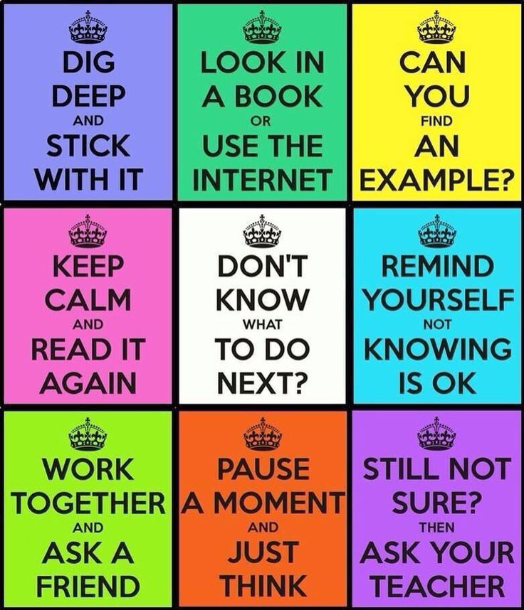 "Growth mindset visuals. A Poster for students with alternatives and behavior reminders. This one is good, because it is not a ""do this"" don't do that"" poster. It is recommendations for situations that may arise often in class such as being confused about a topic or feeling discouraged because they don't understand"