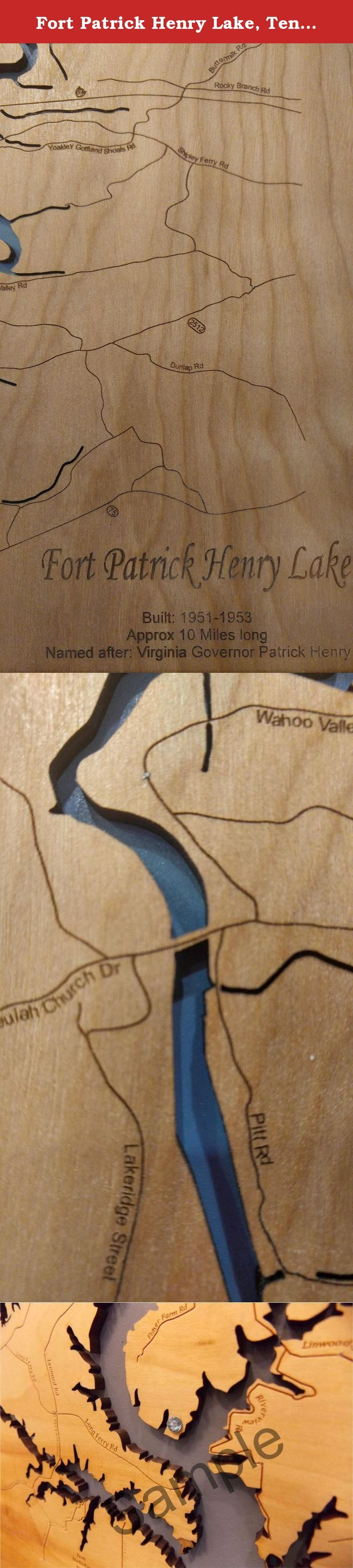 Fort Patrick Henry Lake, Tennessee: Framed Wood Map Wall Hanging. This is a beautifully detailed, laser engraved and precision cut topographical Map of Fort Patrick Henry Lake in Kingsport, Tennessee with the following interesting stats carved into it: Built: 1951 - 1953, Approx 10 Miles Long, Named after Virginia Governor Patrick Henry. Our handmade, solid wood, English chestnut stained frame gives it the classic look and is available in three sizes. Interesting factoid: The construction…