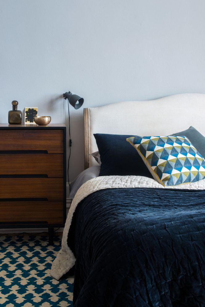 Niki Jones' bed throw has a soft velvet front and natural linen reverse.