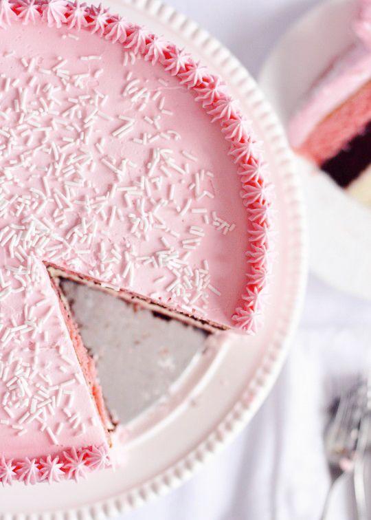 Neapolitan 5-Layer Birthday Cake with Strawberry Frosting   Sweetapolita