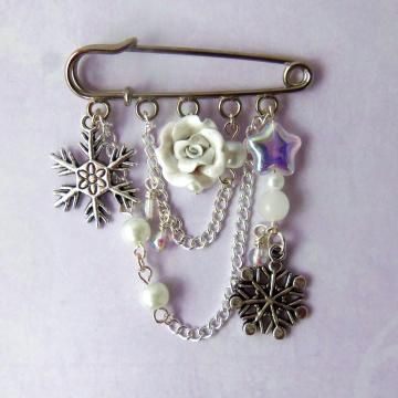 White snowflake kilt pin brooch, winter jewelry, white charm brooch on sale now 30% off! on Zibbet