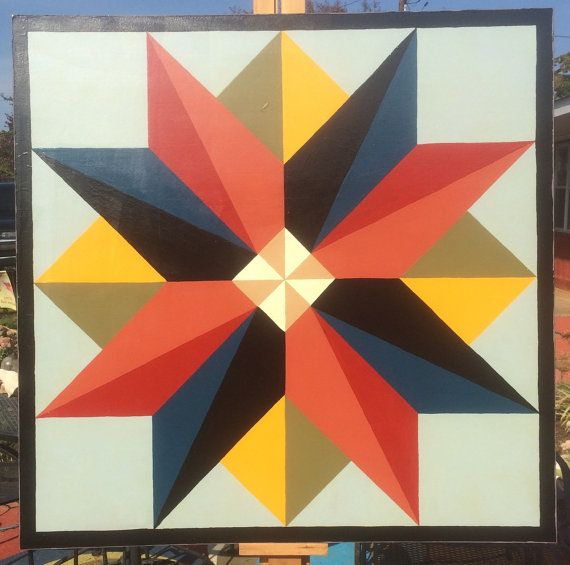 Hand painted barn quilt painted on exterior grade plywood with 2 coats primer, 2 coats exterior paint and two exterior top coats. Sealed on
