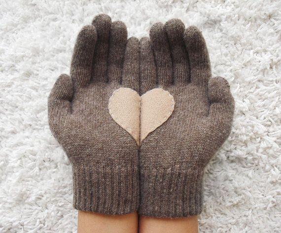 Heart Gloves Dark Beige Gloves with Beige Felt Heart by yastikizi, $31.00