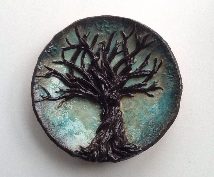"""Clay """"tree of life"""" hand-painted and varnished."""