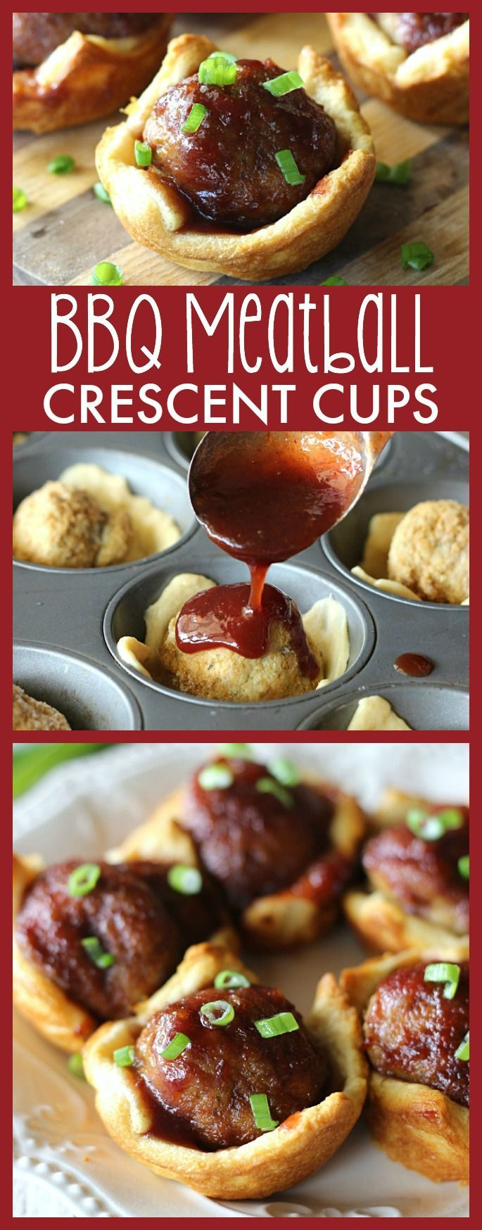 Meatballs topped with a tangy sauce and baked inside a flaky crescent crust. This quick and easy appetizer is sure to please this holiday season! #warmtraditions