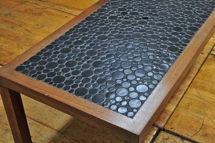 This is Beautiful!  Black Moon Mosaic Pebble Tile installed on top of Walnut Framed Coffee Lamp Table