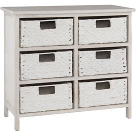 Store clothes in your master bedroom or linens in your guest bedroom in this charming chest of six drawers. Team with bare woods and beaten gold accetns for rustic appeal.  Product: Chest of drawersConstruction Material: Wood and wickerColour: WhiteFeatures: Six drawersDimensions:   Drawer: 13 cm H x 25.8 cm W x 23.5 cm D  Overall: 58 cm H x 62 cm W x 28 cm D