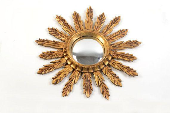 Antiguo espejo sol de madera espejo sol dorado por Brocantebcn