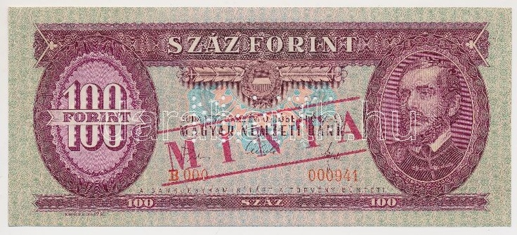Hungary 1968. 100 Forint with MINTA (specimen) overprint / perforation and B 000 - 000941 serial number C:UNC  Adamo F32Ma  Dealer Darabanth Auctions  Auction Minimum Bid: 4000.00 HUF (app. 15 EUR)