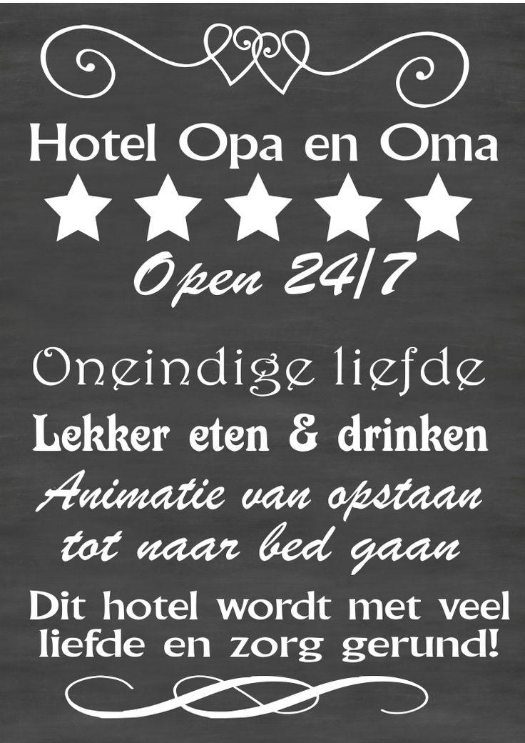 "Tekstborden & Stickers : Tekststicker ""Hotel Opa & Oma"""