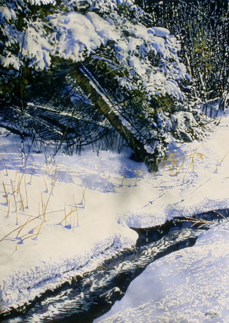 """open stream  3 with pine 30"""" x 22""""  micheal zarowsky watercolour on arches paper / available $2100.00"""