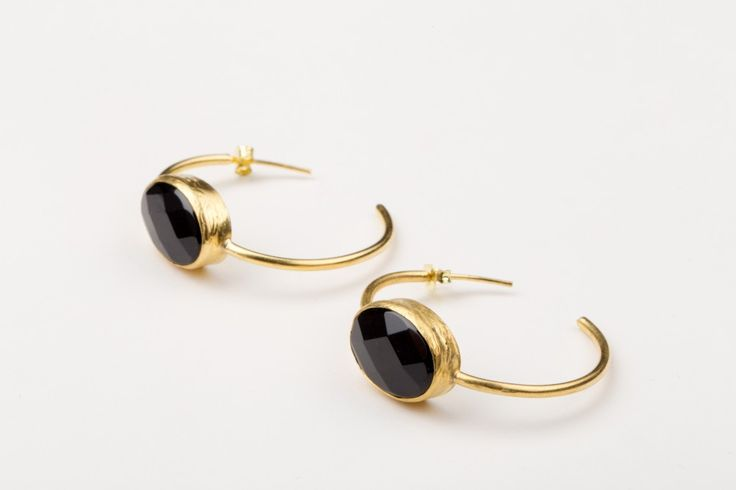 No Bounderies Earrings _Onyx - Gold plated