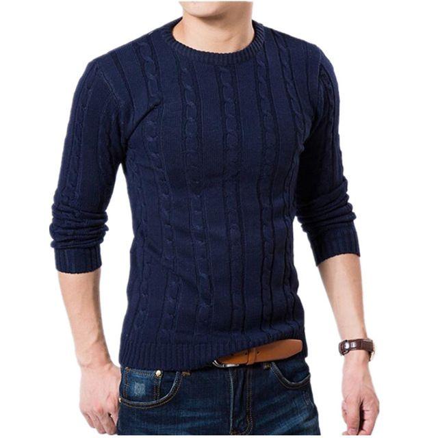 Hombres suéter de la alta calidad del suéter de cuello redondo suéter de invierno para hombre marca Slim Fit moda tejida capa del suéter