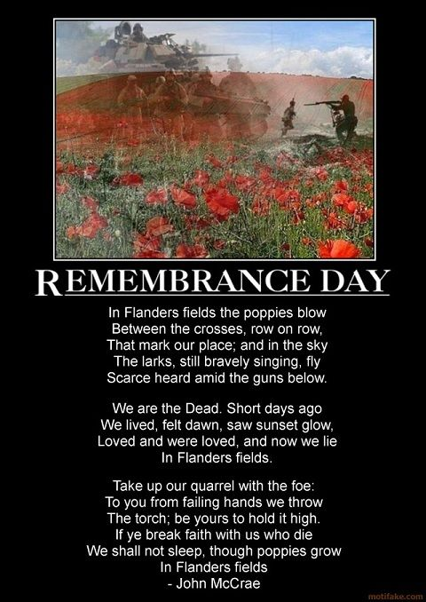 Remembrance Day. We honour all our troops...ones fallen and ones here