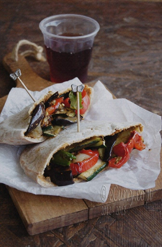 This is for you veggie lovers! I made this with a few extra veggies like mushrooms and carrots, it was so good! I couldn't find pita bread, so I used whole wheat flat sandwich rounds instead. Next time I will have to invest time in finding the pita bread, it would be less messy to eat if it was wrapped up!