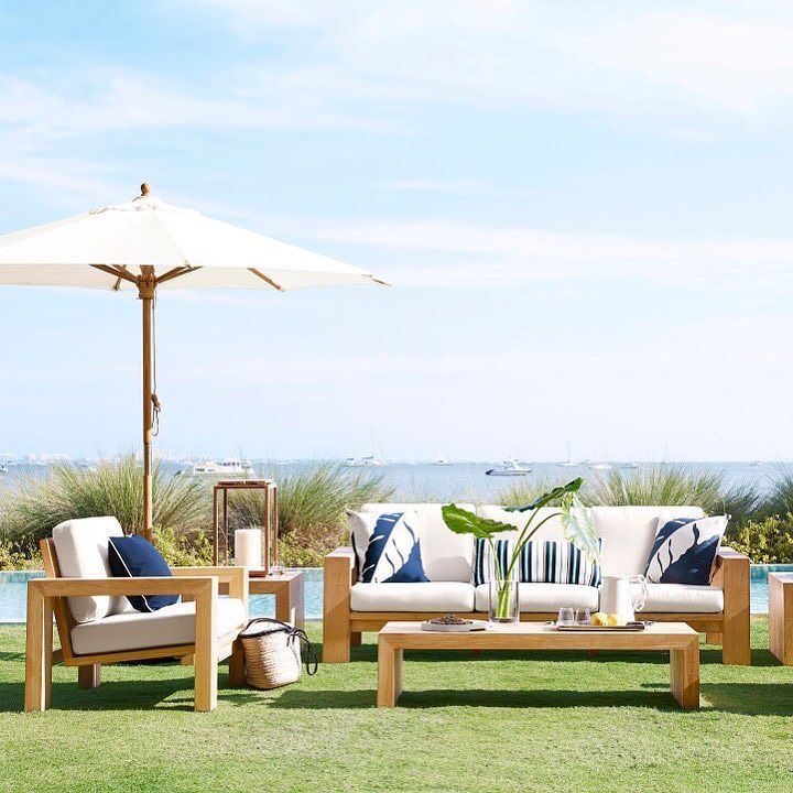 Sale Alert! Use code OUTDOOR for a major discount off of the Larnaca collection. We have a feeling you'll love the statement its bold but simple modern silhouette will make in your yard. You can have fun creating a custom look with the sectional sofa and armless chair options too. #mywilliamssonoma #SofaChair