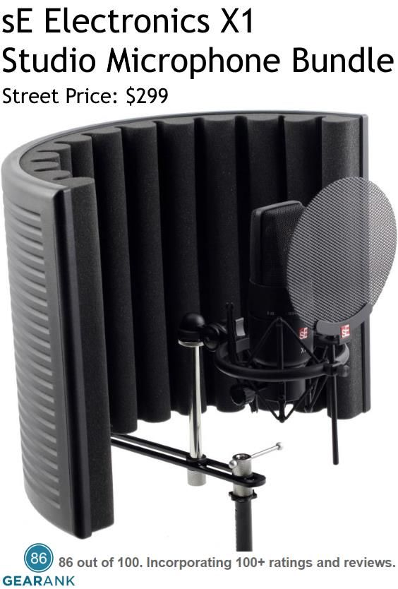 sE Electronics X1 Studio Microphone Bundle. The bundle includes:: X1 microphone - RF-X Reflexion Filter - sE Isolation Pack (with pop shield) - 3-meter mic cable.  For a Detailed Guide to Studio Microphones for Vocals see https://www.gearank.com/guides/vocal-studio-mics
