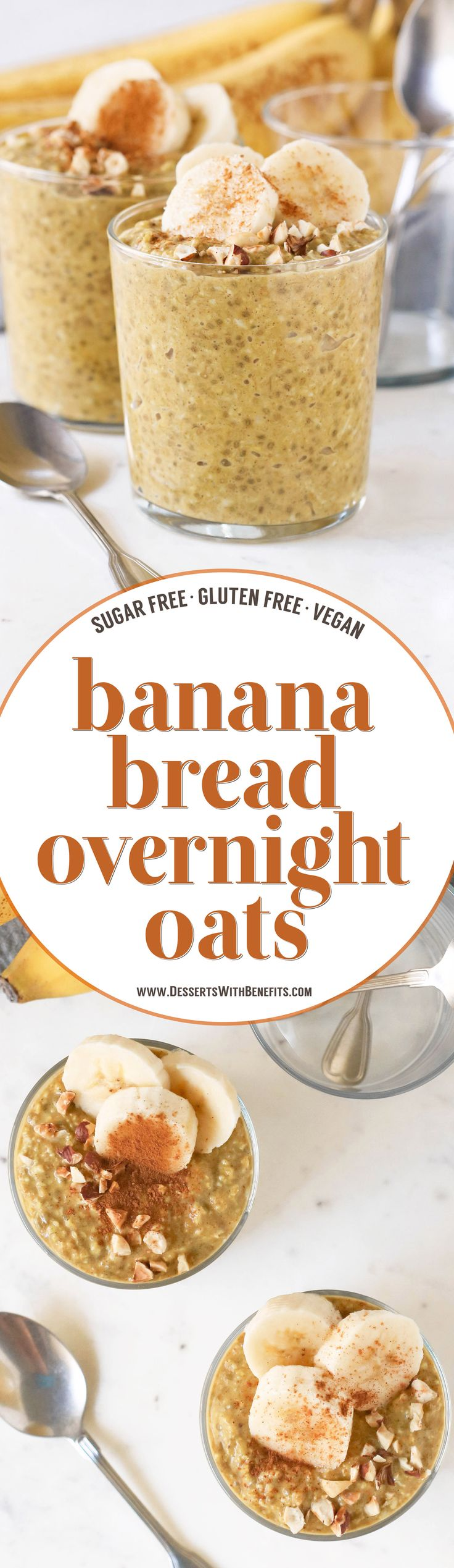 These Healthy Banana Bread Overnight Dessert Oats have all the flavor of Banana Bread but in oatmeal form, and without the butter, oil, and white sugar! This banana oatmeal is thick, sweet, and filling, and it's refined sugar free, low fat, high fiber, gluten free, dairy free, and vegan too!