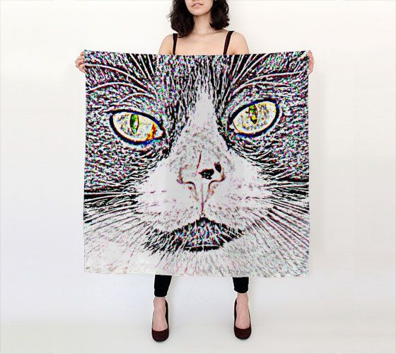 Tuxedo Cat Scarf Printed Habotai Silk Lightweight Black and