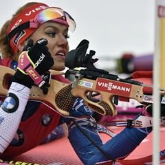Gabriela Koukalova of Czech Republic wins the World Biathlon Cup women's mass start event