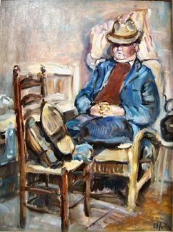 Herman von Dulmen Krumpelman aan. Het toont een Drents boertje tijdens zijn middagslaapje. Door zijn rotan leunstoel met kussens op te stoppen, maakte de man het zich comfortabel. Zijn benen vleide hij neer op de wat hogere zitting van een eetkamerstoel. Vermoedelijk snurkt hij, want zijn mond staat wat open. Zijn onderkin ligt op zijn borst, en zijn handen vouwde hij tevreden onder zijn buik.