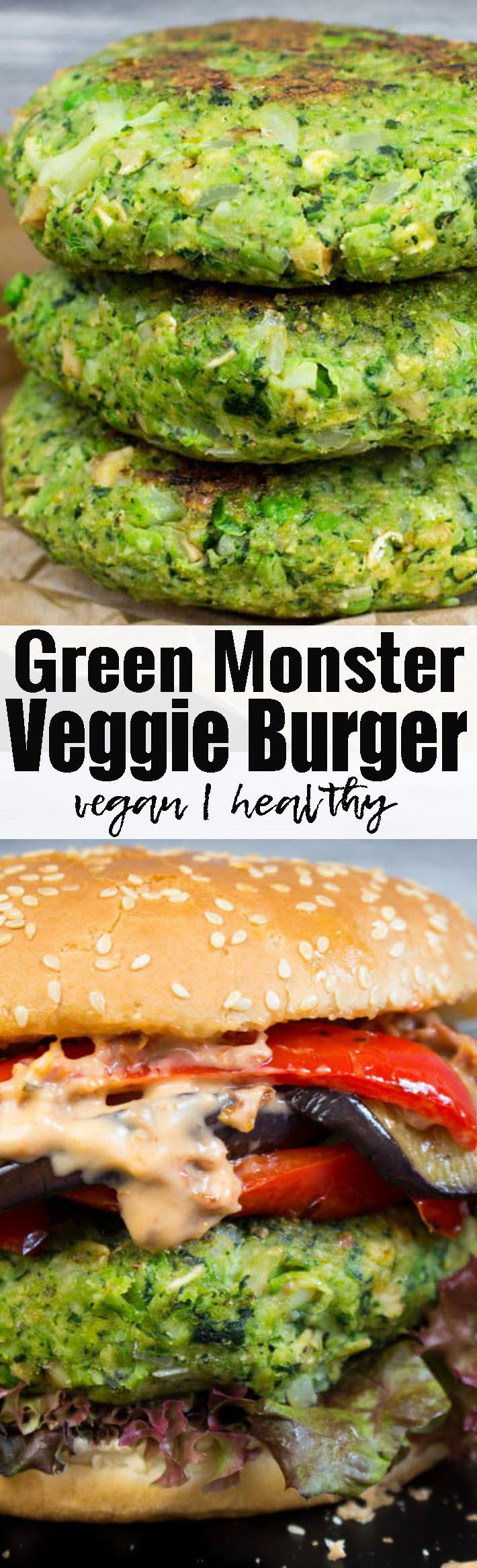 If you're looking for delicious vegan burgers, this green monster burger with kale, broccoli, and peas is perfect for you! It makes such a great vegan dinner! Find more vegan recipes at veganheaven.org!