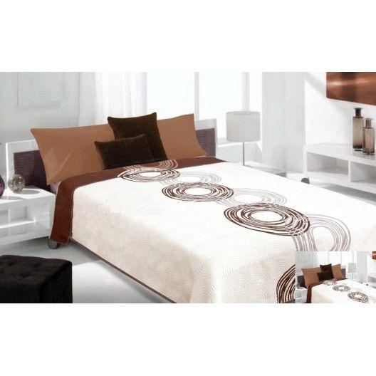 Luxusný obojstranný prehoz na posteľ biely s hnedým vzorom