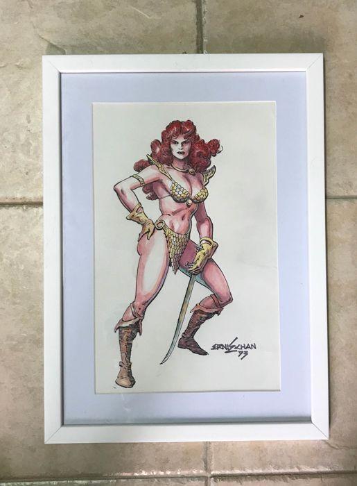 Originele kleur illustratie door Ernie Chan - Rode Sonja - ondertekend - (1973)  Originele kleur illustratie door Ernie Chan - Rode Sonja - (1973)Afmetingen: 22 x 34 cm - kaart frame - ondertekendVroege werk van Chan die op dat moment werkte voor DC Comics en was net begonnen met Marvel als een inker alvorens in te gaan op te stellen voor de Conan-serie.  EUR 1.00  Meer informatie