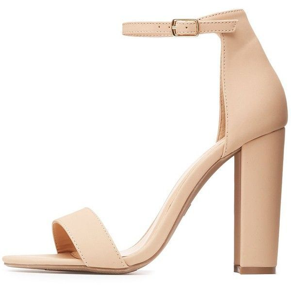 Charlotte Russe Two-Piece Chunky Block Heel Sandals (1.420 RUB) via Polyvore featuring shoes, sandals и nude