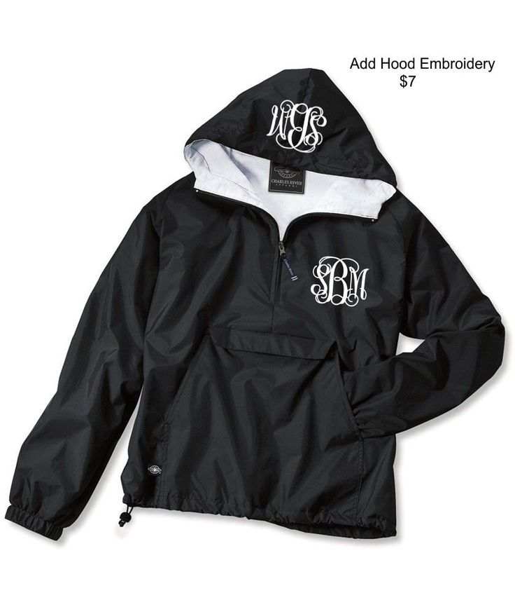 monogram font- times moogram, thread color- tiffany Black Monogrammed Personalized Half Zip Rain Jacket Pullover by Charles River Apparel by LifeAStitch on Etsy https://www.etsy.com/listing/185142936/black-monogrammed-personalized-half-zip