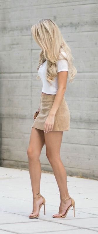 Suede mini skirt and simple white tee on www.kiercouture.com