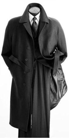 Vittorio St. Angelo Charcoal Full Length Wool Coat for Men