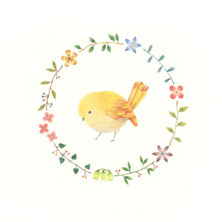 """Little Yellow Bird and Wreath"" −RiLi, picture book, illustration, design…"
