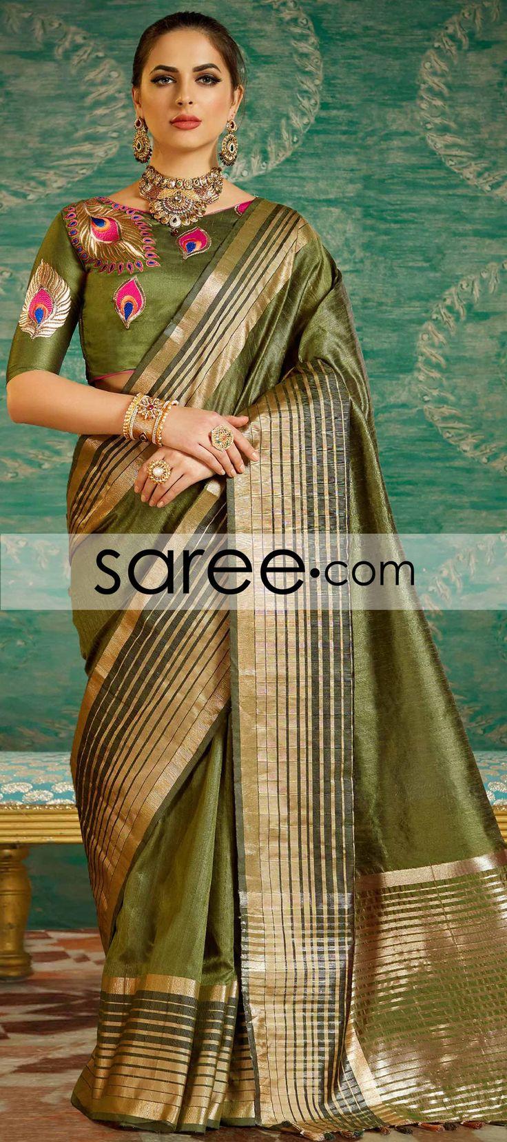 Green Art Silk Saree With Zari