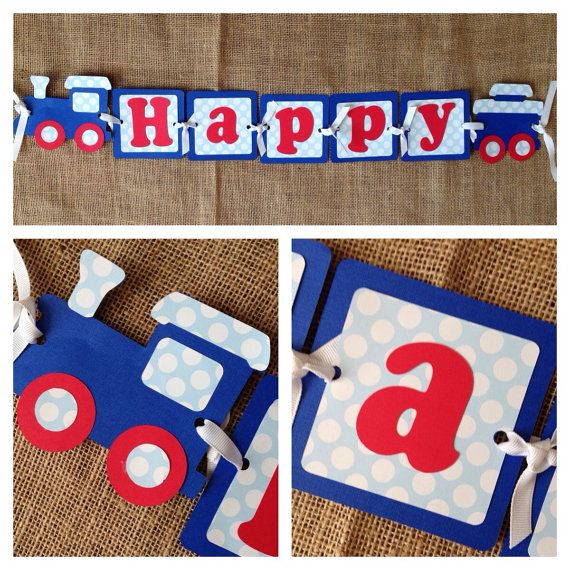 Train Birthday Banner Train Party Banner Choo от AWhimsyPartyShop