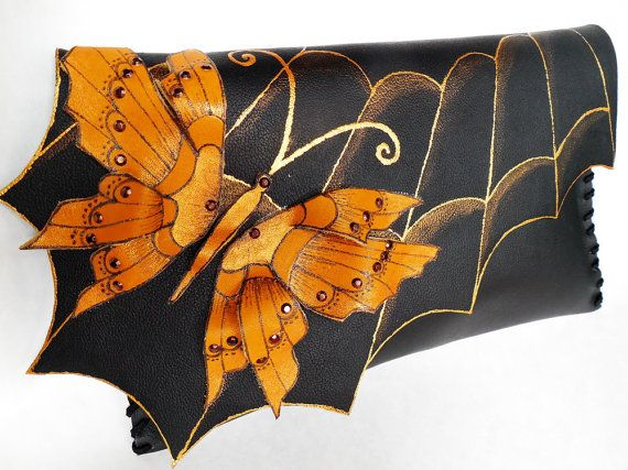 unique handmate leather clutch  Golden Butterfly by spiculdegrau, $100.00
